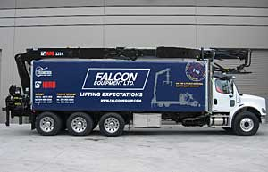 Falcon demo truck with HIAB crane