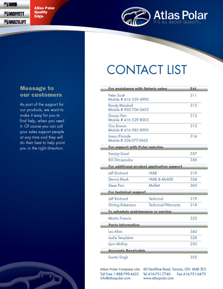 Add our Contact List to Your Directory