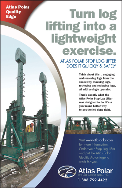 New Stop Log Lifter Ad in Canadian Dam Bulletin Magazine