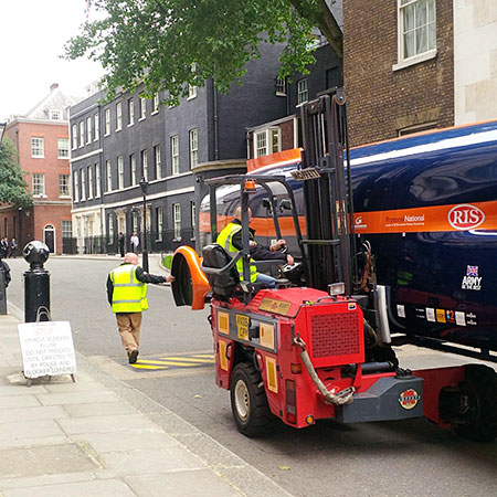 Moffett M5 delivers Bloodhound into Downing Street, UK