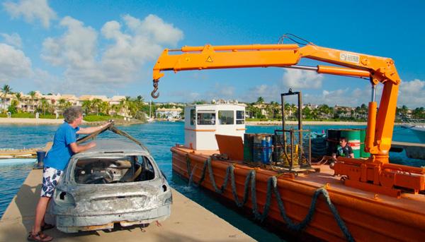 Crane Delivers Coral Nursery