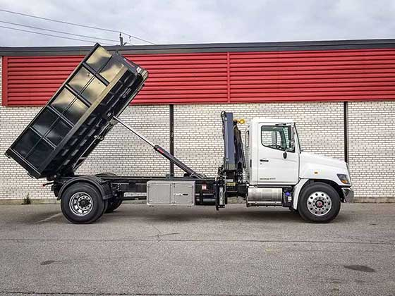 088 B-3 CLX Crane and Multilift XR7XL Hooklift on Hino Truck For Sale
